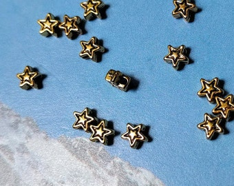 100 very tiny star beads, etched outline, gold tone, 5mm
