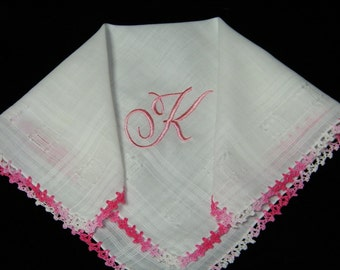 "Vintage Pink on White Personalized  Monogram ""K"" Ladies Hand Crocheted Trim Brides Wedding Handkerchief, Hankie, Hanky - 9697"