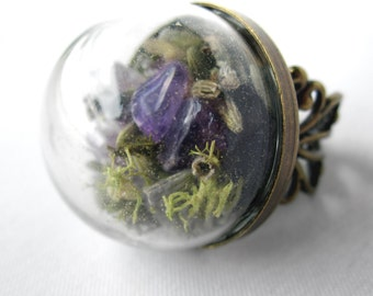 Flat-Back Amethyst, Lavender and Moss Filigree Ring - Real Healing Stone - Crystal Statement Ring
