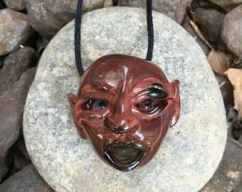 Red Goblin Head Pendant (Borosilicate Glass)
