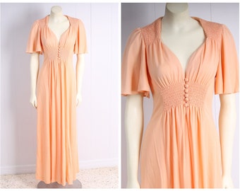 vintage 1970s dress cape sleeve angel wing peach maxi hippie boho festival peach dream orange creamsicle size small xs
