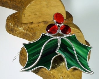 Holly Berry  3 D Stained glass suncatcher, Christmas tree ornament and window decoration