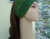 Blue and Green bandana beanie head wrap headband soft wool blend knit crochet OOAK