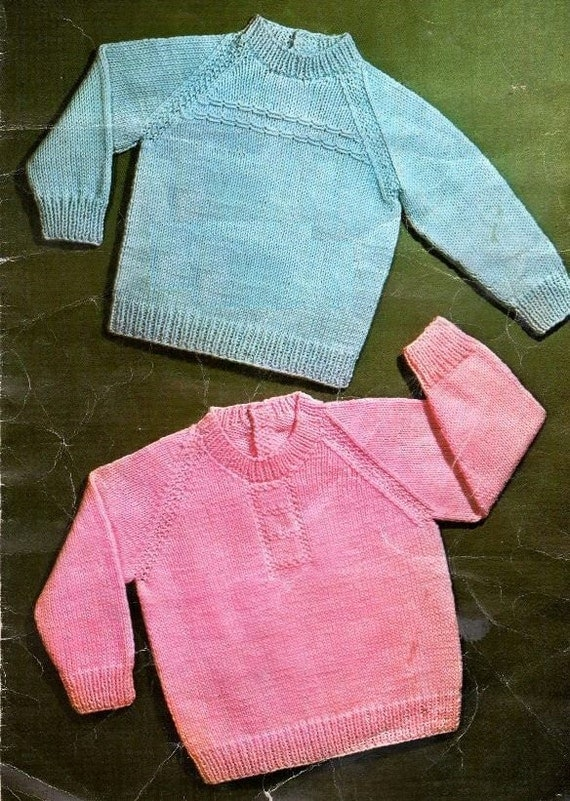 Knitting Patterns With Two Colors : PDF Knitting Pattern / Classic Raglan Baby by LoveFromNewZealand