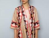 mountains beyond mountains -- vintage silk kimono jacket -- S/M