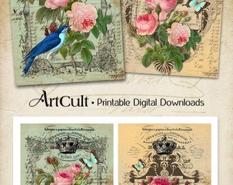 Printable Download SHABBY CHIC ROSES Digital Collage Sheet 5x7 inch size images Greeting Cards Vintage Ephemera Paper Scrapbooking craft