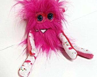 Handmade Plush Monster - Mini Monster Plush - Pink Tinsel Faux Fur - Hand Embroidered Cute Toy - OOAK Stuffed Monster Doll - Weird Plush