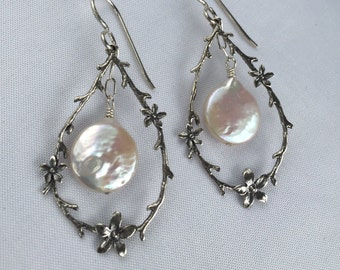 Silver Floral Vine Pearl Earrings