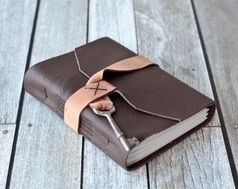 Brown Leather Journal with Skeleton Key, Travel Sketchbook