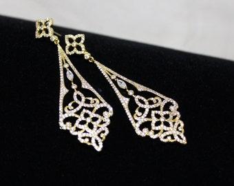 Gold Art Deco earrings, Crystal Bridal earrings, Long Wedding earrings, Bridal jewelry, CZ earrings, Rhinestone earrings Chandelier earrings