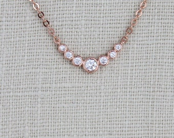 Dainty Rose Gold necklace, Bridesmaid necklace, Rose Gold charm necklace, Layering jewelry, Simple Bridal necklace, Delicate necklace