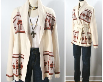 Vintage Belted Cardigan Sweater, 70s Fall / Autumn Southwest Style Wrap Front Sweater, Unisex Adult Sweater Size XL
