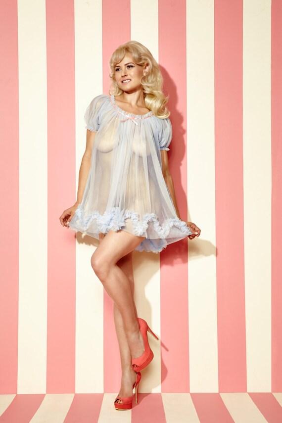 New 1950s Vintage Lingerie & Sleepwear, Pinup Styles Pastel Sugar Candy Babydoll sheer vintage style nightie ruffles puff sleeve  AT vintagedancer.com