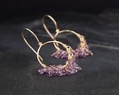 Amethyst dangle earrings, small gold hoop earrings, purple and gold, February birthstone jewelry - On the Fringe