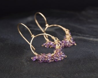 Amethyst dangle earrings, small gold hoop earrings, purple and gold, February birthstone jewelry - On the Fringe