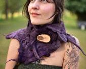 RESERVED - Felt Melted Mauve Purple Pixie Woodland Neck Warmer Cowl Scarf Shawl OOAK