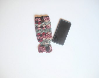 Crochet Mermaid Tail iPhone 6 Cozy in Cranapple, ready to ship.