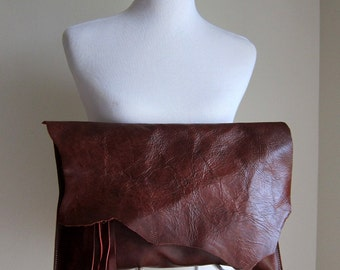 LEATHER Large Oversized Huge Clutch Bag Purse Shoulder Strap Cross Body - Raw, Rustic with Raw Edge & Fringe