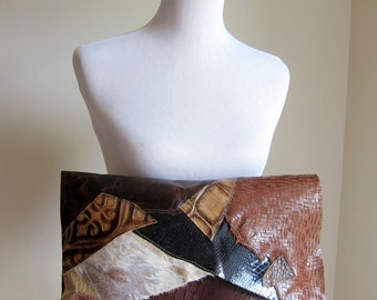 LEATHER Large Oversized Huge Clutch Bag Purse Shoulder Strap Cross Body - Raw Rustic with Raw Edge - Multi Color Patchwork