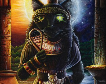 Bastet Cat Goddess Original Acrylic Painting on Masonite 11x14