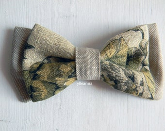 Men bow tie - Linen bowtie - Italian bowtie - Pre tied bow tie - Made in Italy - Beige, olive green, moss green. One of a kind.