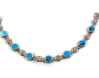 Turquoise Bracelet, Sterling Silver, 925 Bracelet, Links Linked, Vintage Bracelet, 925 Silver, Bohemian, Southwestern