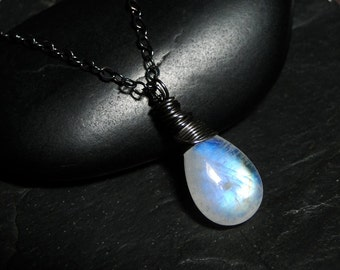 Rainbow Moonstone Necklace on Oxidized Sterling Silver - Nightfall by CircesHouse on Etsy