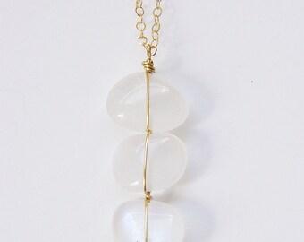 SALE Triple Vanilla Moonstone Necklace