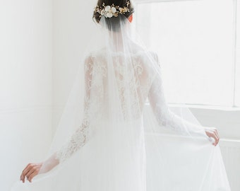 ROSELLA | chapel wedding veil with blusher, long bridal veil, ivory wedding veils