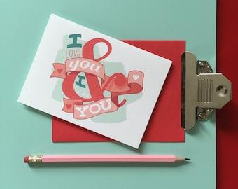"hand-lettered love note: ""i love you & i like you"""