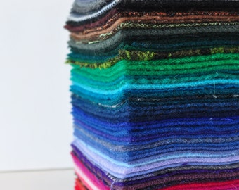 Polychromatic, Stack of 64 Reclaimed Wool Felt Squares, Folk Art  Quilt Supplies, Applique Wool, Charm Pack, Rug Hooking Wool, Craft Felt