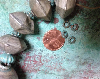 Large Hexagon Hollow Bead, Spacer Bead, Vintage Silver Beads, Hollow Silver Bead, 5 pieces