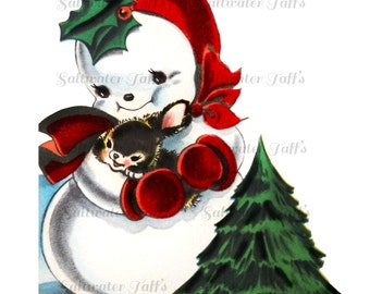 Cute Snowman and Bunny Image Digital Download vintage transfer card holiday xmas vintage woodland snow christmas tree 1950s holly jolly