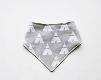 Light Gray and White teepee baby bandanna bib