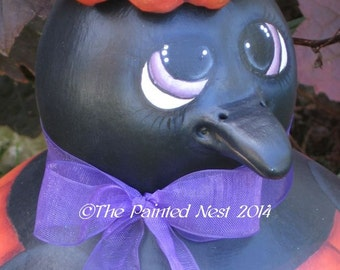 Handpainted Crow in Pumpkin Gourd Halloween, Fall, FAAP,