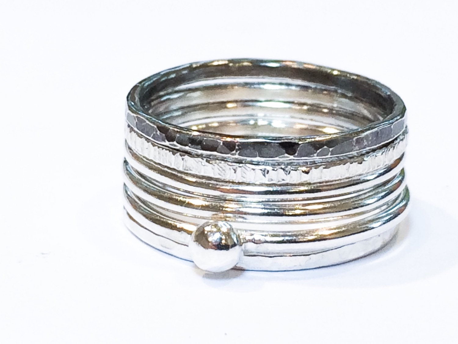 six 6 stackable sterling silver rings set by hottorstudio