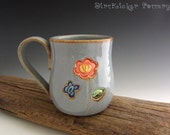 Pottery Mug in Rustic Blue with Cute Flower and Butterflies - Coffee Mug - Large Mug - DirtKicker Pottery