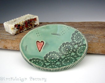 Pottery Soap Dish in Jade Green with Heart - Oval Soap Dish - by DirtKicker Pottery