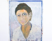 RESERVED for SMH M - Vintage Portrait Painting of a Lady / Outsider Art / 15 x 19 / Acrylic on Found Paper