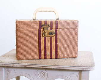 Vintage Train Case / 1940's Striped Luggage