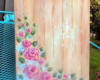 Shabby Chic Pink Roses Chandelier Canvas Romantic Home Decor Cottage