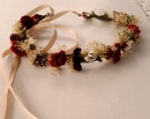 Burgundy fall flower crown bridal accessories marsala wedding party Winter Bride Marsala dried silk floral halo Renaissanc custom for Shelby