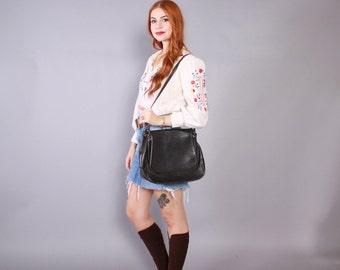 Vintage 70s Leather PURSE / 1970s Black Justin Leather Flap Large Saddle Bag Shoulder Bag