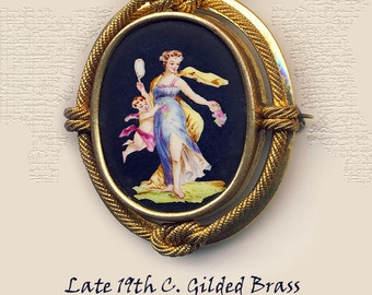 Brooch ~ Large 19th C. Hand Painted Porcelain Psyche and Cupid in Lovely Hues on Black Ground