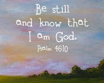 Framed Bible Art Christian Gift Whimsical Landscape Scripture Psalm 46:10