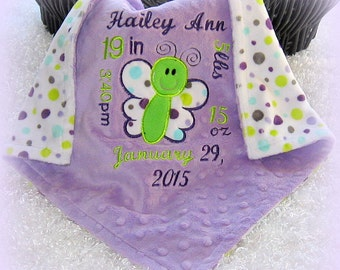 Super soft, birth announcement lovey, minky birth info lovie, butterfly tag along security blanket, unique keepsake baby girl gift