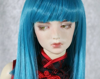"1/4 7-8"" BJD doll wig MSD short straight blue aqua green bangs hair dollfie JR-23"