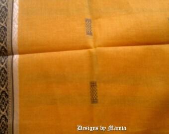 Yellow Cotton Sari Fabric, Indian Saree, Designer Saree, Indian Saree Fabric, Ethnic Fabric, Indian Fabrics, Indian Print Fabric, Handloom