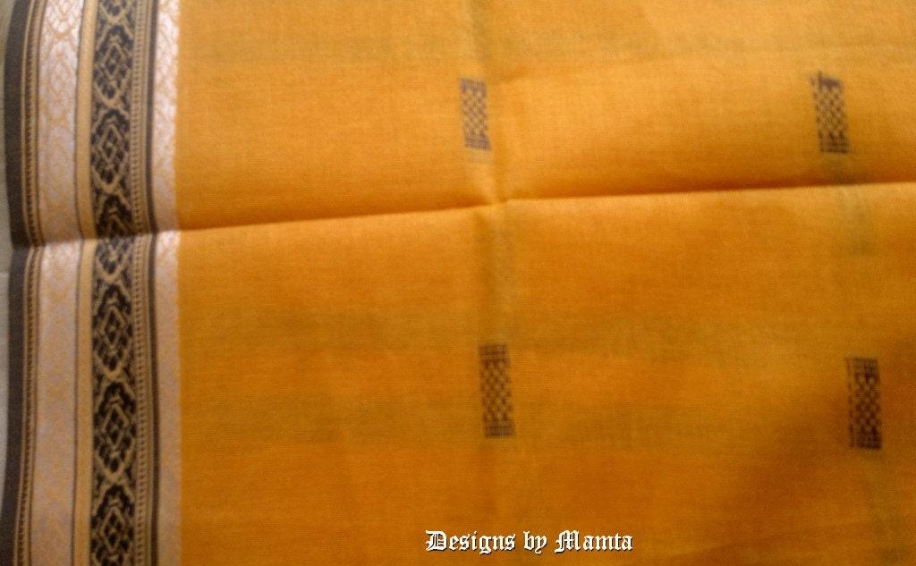 Yellow Cotton Sari Fabric Indian Saree Designer Saree