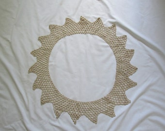 Vintage Crochet Lace Ecru 16 Inch Diameter Circular Edging 5 Inches Wide